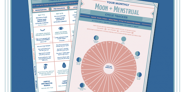 Beautiful Chart of moon and worksheet for tracking your cycle from newbodyandsoul.com