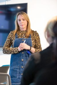 A picture of Michelle walsh delivering a nutrition workshop