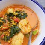 a bowl of mung bean prawn curry