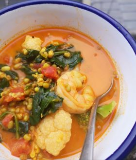 a bowl of mung bean prawn curry