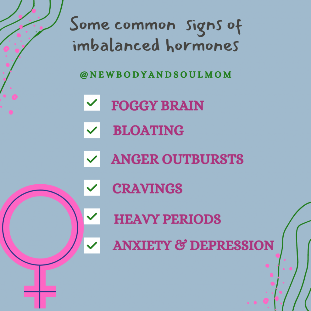 A post with signs of imbalanced hormones written